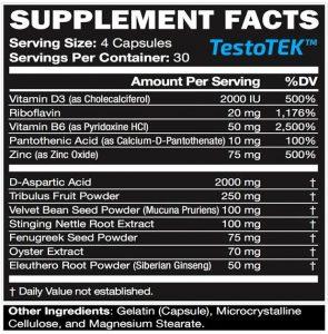 nutritional information for TestoTEK t-booster